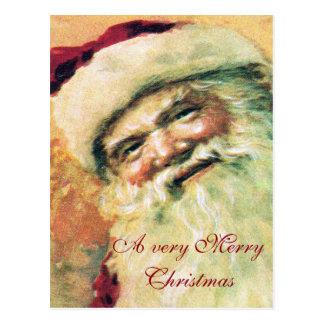 Feliz Natal do vintage do papai noel Cartão Postal