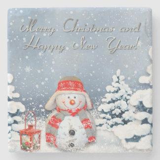 Feliz Natal e feliz ano novo Porta-copos De Pedra