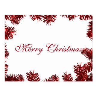 Feliz Natal elegante simples da decoração da folha Cartão Postal