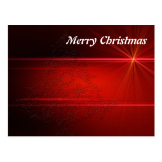 Feliz Natal elegante simples do vermelho do brilho Cartão Postal