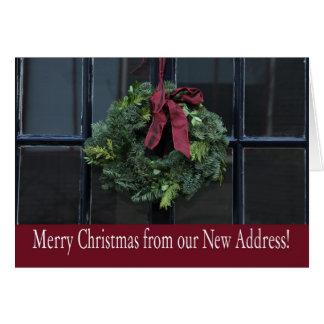 Feliz Natal - endereço novo da grinalda do Natal Cartão Comemorativo