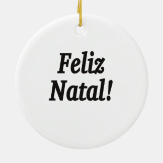 Feliz natal! Feliz Natal em FB português Ornamento De Cerâmica Redondo