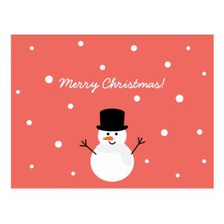 Feliz Natal festivo da neve do feriado do boneco Cartão Postal