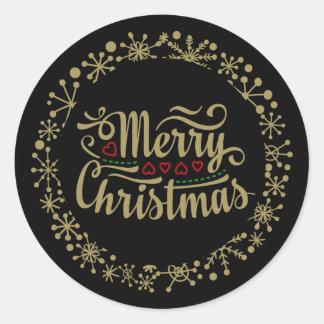 Feliz Natal floco de neve e etiquetas dos corações