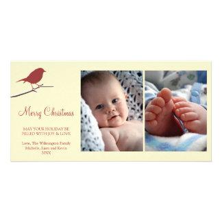 Feliz Natal nevado do creme do ramo do pisco de pe Cartão Com Foto