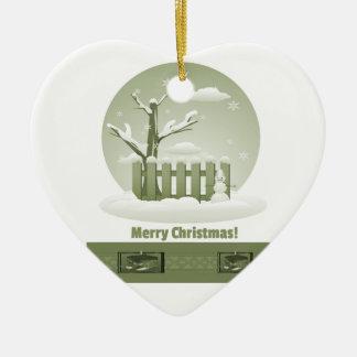 Feliz Natal nevado do vintage gráfico Ornamento De Cerâmica Coração
