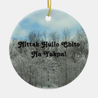 Feliz Natal no Choctaw Ornamento De Cerâmica Redondo
