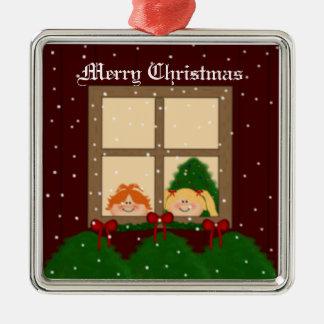 Feliz Natal Ornamento Quadrado Cor Prata