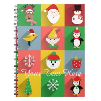 Feliz Natal, papai noel e ajudantes Caderno Espiral