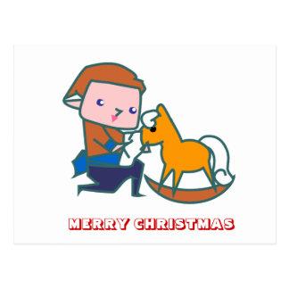 Feliz Natal, por Nekoni, cavalo do brinquedo Cartão Postal