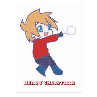 Feliz Natal, por Nekoni, jogo dos snowballs Cartão Postal