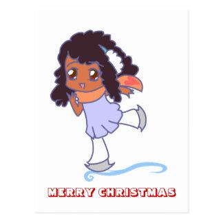 Feliz Natal, por Nekoni, menina no gelo Cartão Postal