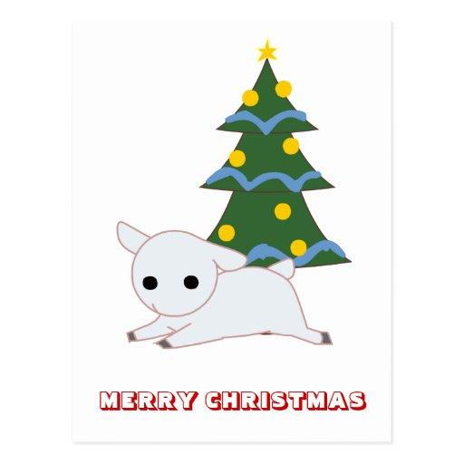 Feliz Natal, por Nekoni, por coelho e por árvore Cartoes Postais