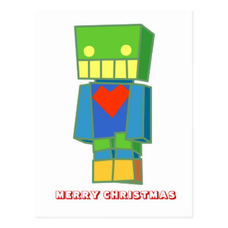 Feliz Natal, por Nekoni, robô alegre Cartão Postal