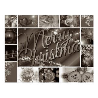 Feliz Natal preto e branco do vintage Cartão Postal