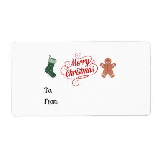 Feliz Natal que armazena o homem de pão-de-espécie Etiqueta De Frete