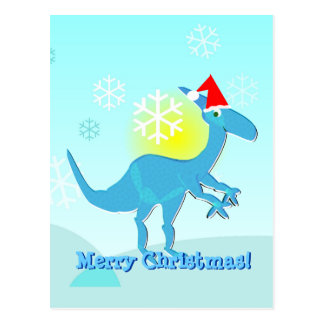 Feliz Natal que cumprimenta o cartão do dinossauro Cartão Postal