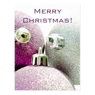 Feliz Natal roxo Cartão Postal