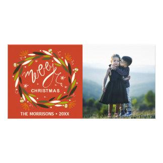 Feliz Natal rústico vermelho & foto verde da Cartão Com Foto