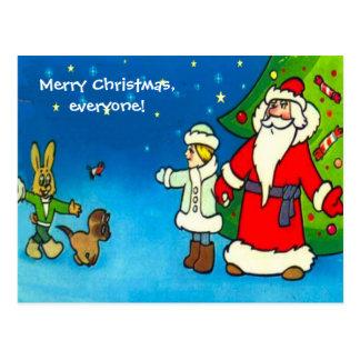 Feliz Natal todos, papai noel e amigos Cartão Postal