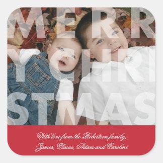 Feliz Natal transparente na etiqueta vermelha Adesivos Quadrados