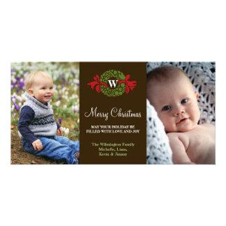 Feliz Natal verde vermelho da grinalda do monogram Cartão Com Foto