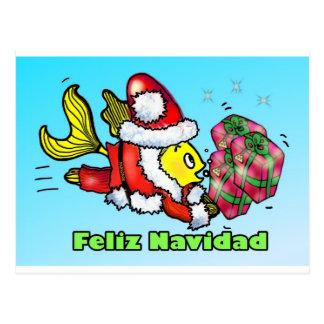 Feliz Navidad, Feliz Natal no cu engraçado Cartão Postal
