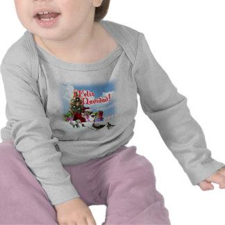 Feliz Navidad - ganso w/Ducks do papai noel do Camiseta