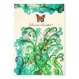 Feltro brilhante do verde azul dos FLOURISHES Convite 12.7 X 17.78cm