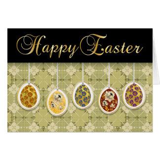 Felz pascoa com ovos coloridos - 1 cartão comemorativo