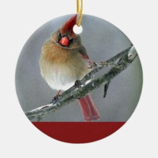 Fêmea cardinal do norte ornamento de cerâmica redondo