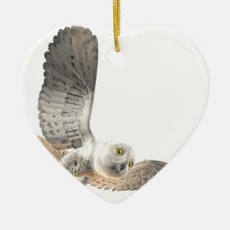 Fêmea nevado da coruja ornamento de cerâmica coração