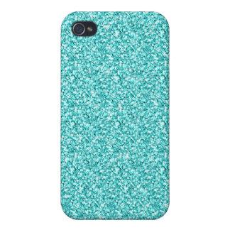 Feminino, brilho azul do Aqua do divertimento iPhone 4 Capas