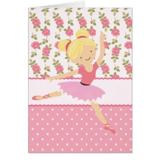 Feminino cor-de-rosa floral da bailarina lunática cartão comemorativo