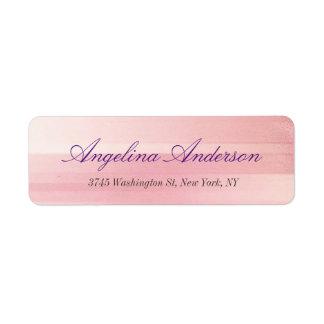 Feminino moderno da escrita cor-de-rosa à moda na etiqueta endereço de retorno