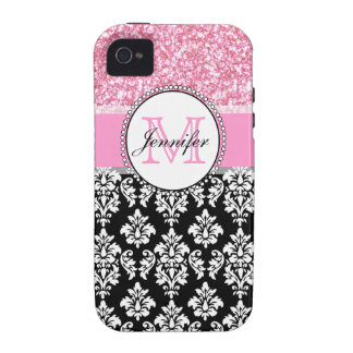 Feminino, rosa, brilha o damasco preto personaliza capinhas para iPhone 4/4S