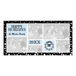 Feriado azul e preto Monogrammed do floco de neve Cartão Com Foto
