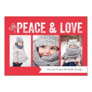 Feriado da bandeira 3-Photo do amor da paz da Convite 12.7 X 17.78cm