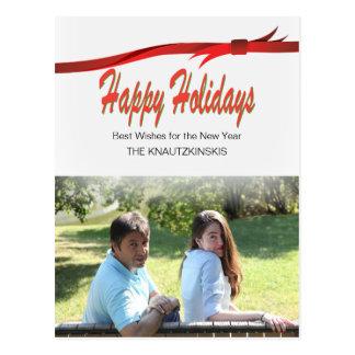 Feriado do Natal da fita do vermelho carmesim Cartão Postal