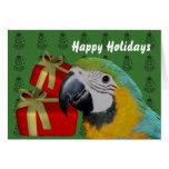 Feriado do Natal do papagaio do Macaw do azul e do Cartões