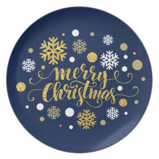 Feriado do Natal - o Feliz Natal Shimmer o azul Pratos