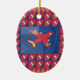 Feriado do viagem do vôo dos aviões do avião do ornamento de cerâmica oval