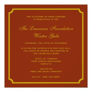 Feriado incorporado do quadro dourado do quadrado convite quadrado 13.35 x 13.35cm