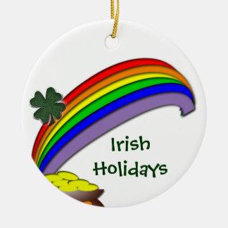 Feriados irlandeses ornamento de cerâmica redondo