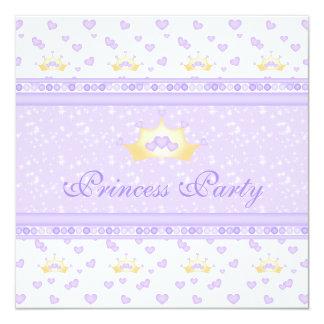 Festa de aniversário bonito da princesa de coroas convite quadrado 13.35 x 13.35cm