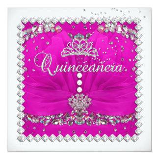 Festa de aniversário branca de prata cor-de-rosa convite personalizados