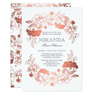 Festa de aniversário branca elegante floral do convite 12.7 x 17.78cm