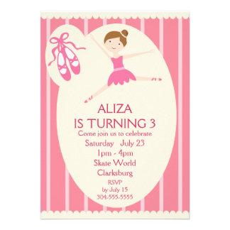 Festa de aniversário cor-de-rosa da bailarina convite personalizados