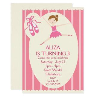Festa de aniversário cor-de-rosa da bailarina convite 12.7 x 17.78cm
