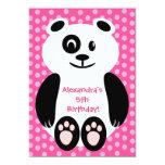 Festa de aniversário cor-de-rosa e roxa da panda convites personalizado